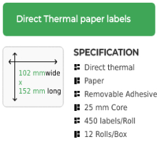 102mm x 152mm Direct Thermal Labels, Removable Adhesive on a 25mm core, 12 rolls , 450 labels per roll
