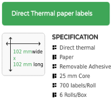 102mm by 102mm Direct Thermal Removable Adhesive Label on a 25mm core