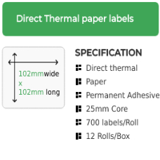 102mm by 102mm Thermal Transfer Permanent Adhesive Label on a 25mm core