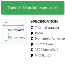 102mm by 102mm Thermal Transfer Permanent Adhesive Label on a 76mm core