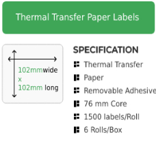 102mm by 102mm Thermal Transfer Removable Adhesive Label on a 76mm core