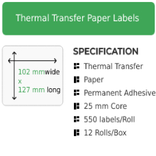 102mm by 127mm Thermal Transfer Permanent Adhesive Label on a 25mm core