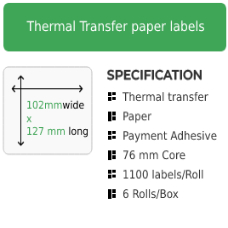 102mm by 127mm Thermal Transfer Permanent Adhesive Label on a 76mm core