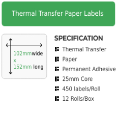 102mm by 152mm Thermal Transfer Permanent Adhesive Label on a 25mm core