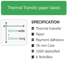 102mm by 152mm Thermal Transfer Permanent Adhesive Label on a 76mm core