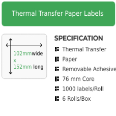 102mm by 152mm Thermal Transfer Removable Adhesive Label on a 76mm core