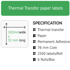102mm by 52mm Thermal Transfer Permanent Adhesive Label on a 76mm core