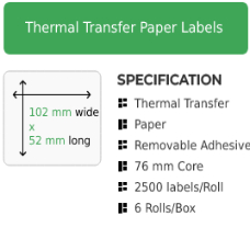 102mm by 52mm Thermal Transfer Removable Adhesive Label on a 76mm core