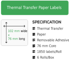 102mm by 76mm Thermal Transfer Removable Adhesive Label on a 76mm core