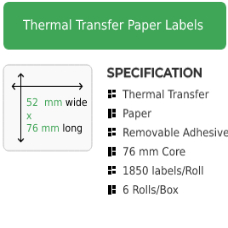 52mm by 76mm Thermal Transfer Removable Adhesive Label on a 76mm core