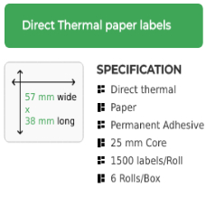 57mm by 38mm Direct Thermal Permanent Adhesive Label on a 25mm core
