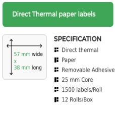 57mm by 38mm Direct Thermal Removable Adhesive Label on a 25mm core