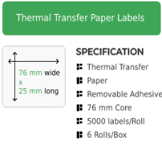 76mm by 25mm Thermal Transfer Removable Adhesive Label on a 76mm core
